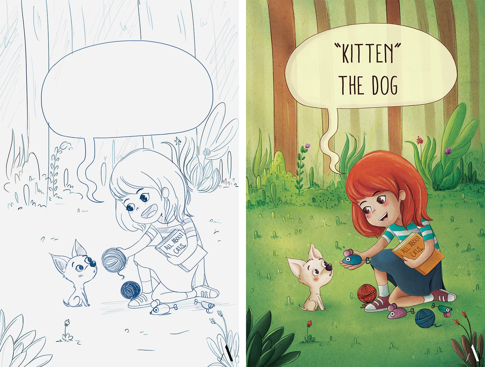 Final illustration for the cover of the children's book 'Kitten the Dog'