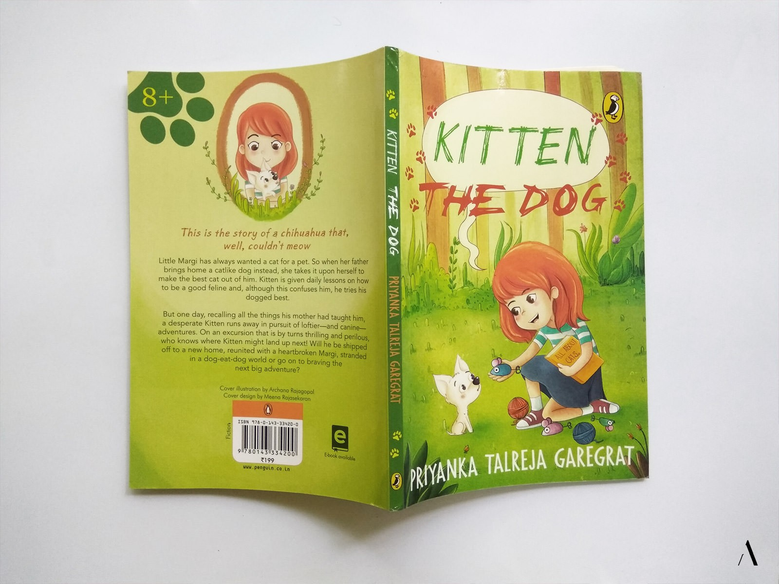 Front and back cover of illustrated children's novel, kitten the dog