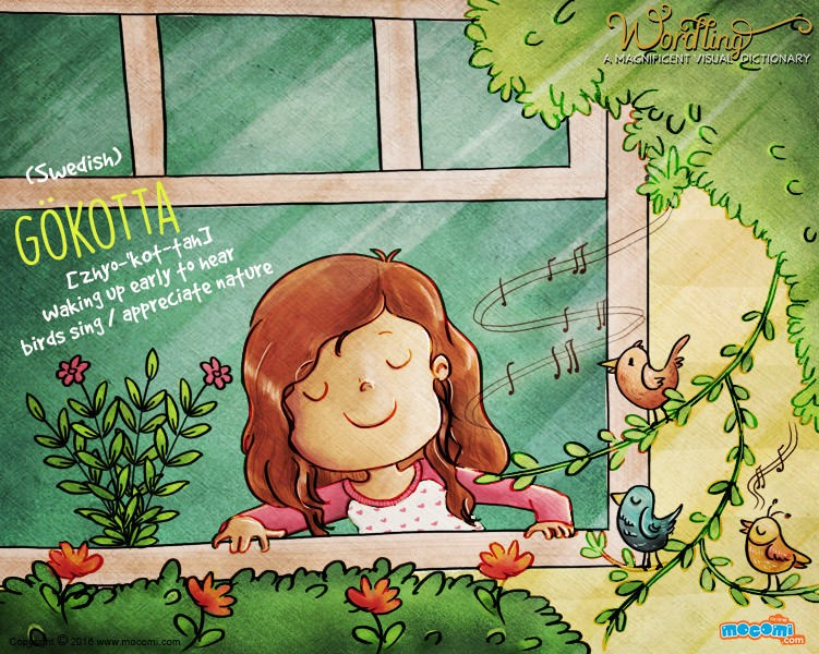 Illustration for children's website Mocomi for their Wordling series, showing a girl at the window, listening to the sound of birds. The word is Gokotta