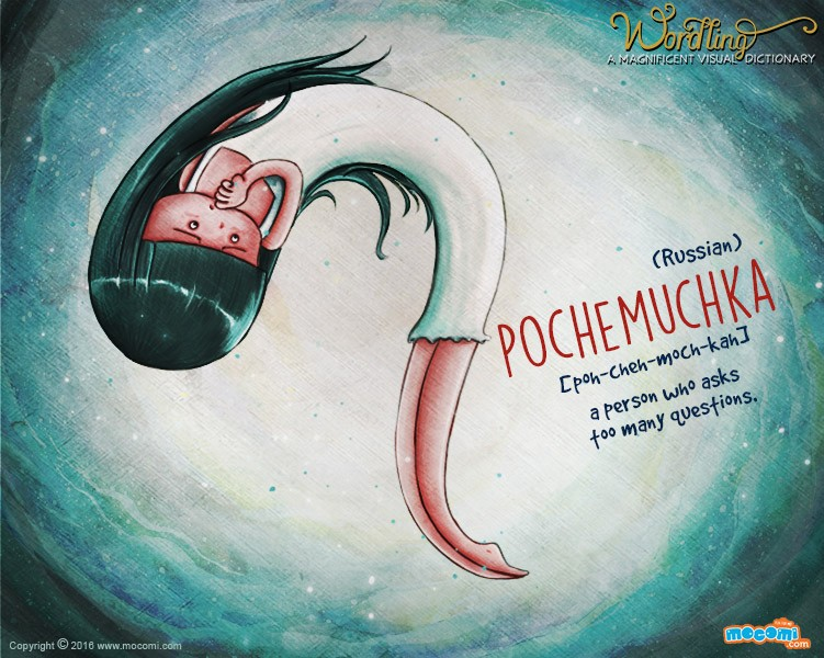 Illustration for children's website Mocomi for their Wordling series, showing a girl in the form of a human question mark. The word is Pochemuckha