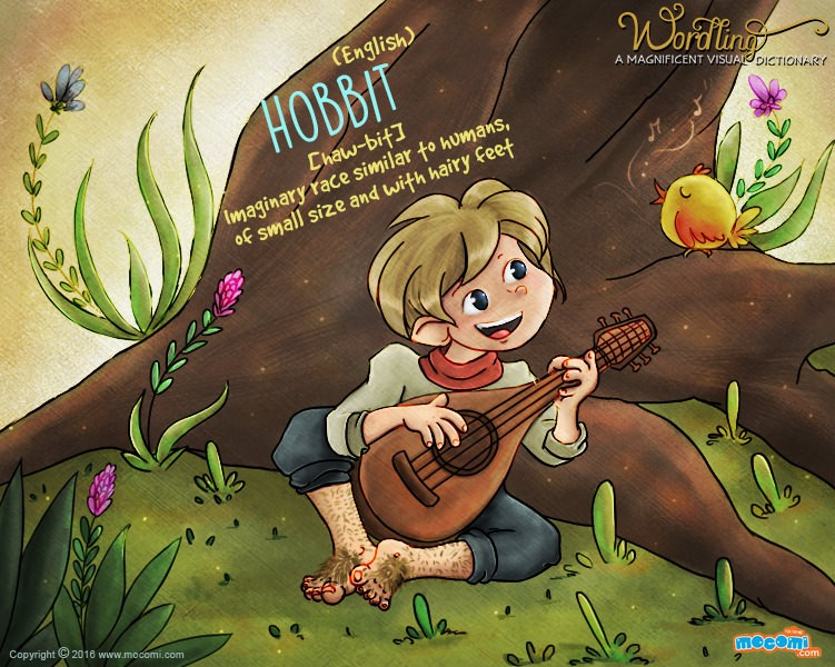 Illustration for children's website Mocomi for their Wordling series, showing a hobbit, sitting in the woods, at the base of a tree, playing a musical instrument. The word is Hobbit