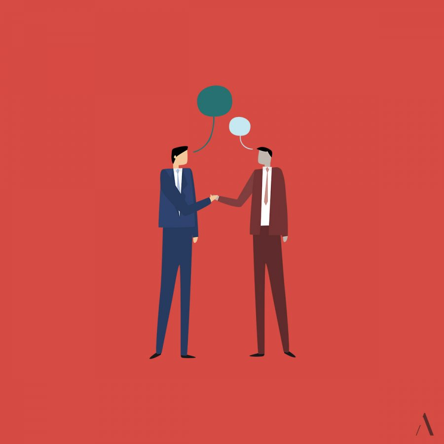 Vector illustration of two men in suits shaking hands and talking