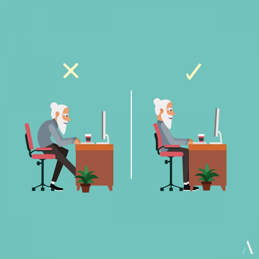 Vector illustration of of an old man showing the right and wrong way to sit on a chair
