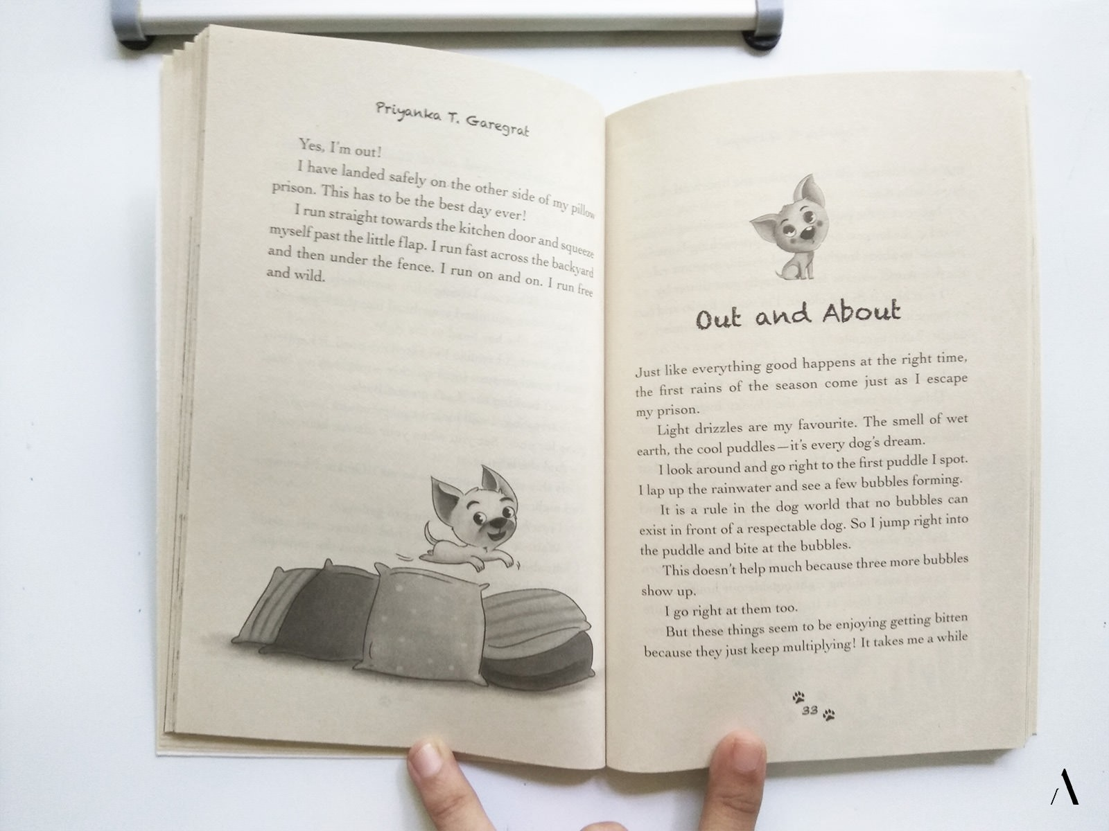 Pages from the illustrated Children's novel, Kitten the dog