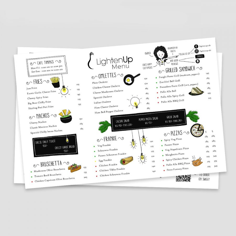 Menu Design for Cafe Lighten UP