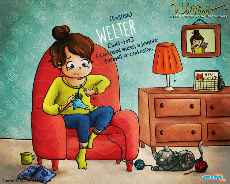 Illustration for children's website Mocomi for their Wordling series, showing a girl siting on a sofa and knitting, but she is all tangled up, as is the cat at her feet. The word is Welter