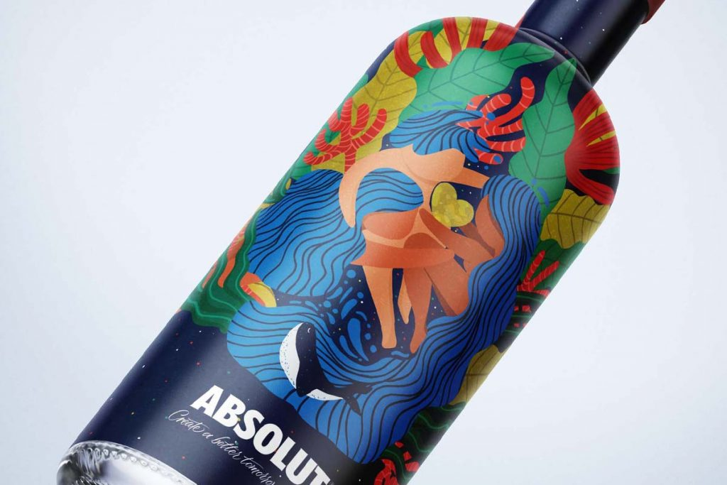 Illustrated packaging for a bottle of Absolut Vodka